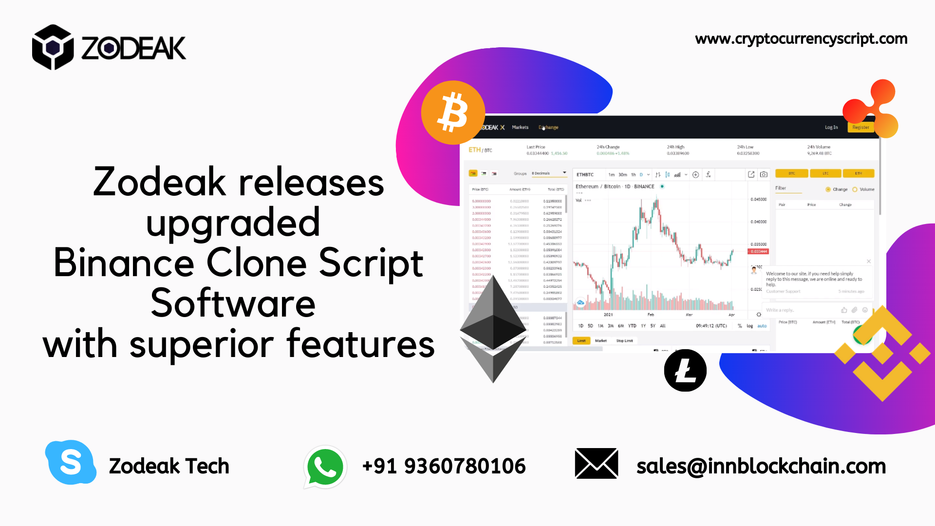 Zodeak releases upgraded Binance Clone Script Software with superior features